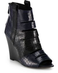 Rebecca Minkoff Sonny Embossed Wedge Bootie - Blue