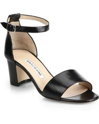 Manolo Blahnik Lauratom Leather Ankle-Strap Sandals - Lyst