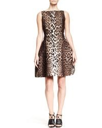 Lanvin Leopardprint Dress with Full Skirt - Lyst