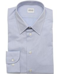 Armani Sky Blue Herringbone Cotton Point Collar Dress Shirt - Lyst