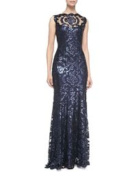 Tadashi Shoji Sleeveless Sequined Lace-Overlay Gown - Lyst