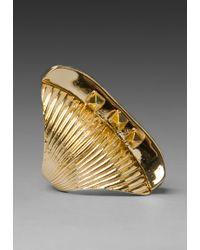 Belle Noel Glam Rock Long Finger Ring - Metallic