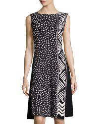 Oscar de la Renta Heart-Print Embroidered Crepe Dress - Lyst