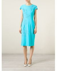 Ermanno Scervino Flower Embroidered Fitted Dress - Lyst