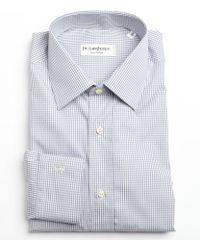 Saint Laurent Grey and White Mini Check Cotton Point Collar Dress Shirt - Lyst