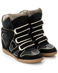Etoile Isabel Marant 'Wila' Black Suede Sneakers - Lyst