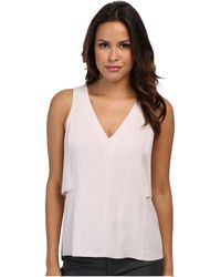 Rebecca Taylor Sleeveless Vneck Crepe Top - Lyst