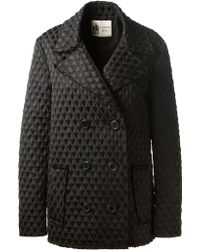 Lanvin Black Double Breasted Coat black - Lyst