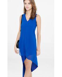 Express Blue V-neck Asymmetrical Hi-lo Hem Dress