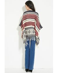 Forever 21 Striped Fair Isle Poncho You've Been Added To The Waitlist - Blue