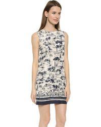 Tory Burch Soft Silk Shell Dress - New Ivory Frenesi blue - Lyst