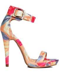 Akira Coral Floral Print Ankle Strap Heels - Lyst