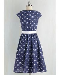 Folter Inc Mix In The Moxie Dress In Crossbones - Blue