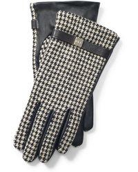Ralph Lauren Houndstooth & Leather Gloves - Black