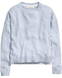 H&M Blue Knitted Jumper - Lyst