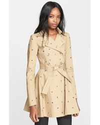 RED Valentino Grommet Detail Double Breasted Flared Trench Coat beige - Lyst