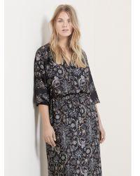 Violeta by Mango Mixed Print Dress - Black
