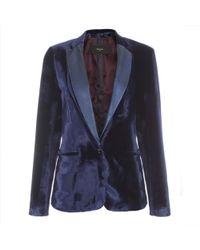 Paul Smith Navy Velvet Jacket With Leather Lapels - Lyst