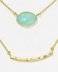"Argento Vivo Double Strand Bar Necklace, 16"" teal - Lyst"