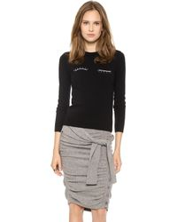 Band of Outsiders - Crew Neck Sweater with Eyelashes Black - Lyst