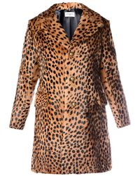 Saint Laurent Leopard-Print Single-Breasted Coat - Lyst