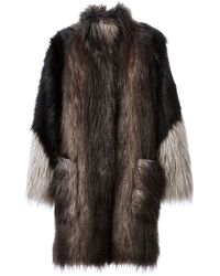 Lanvin Oversized Faux Fur Coat - Lyst