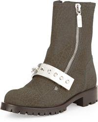 Alexander McQueen Nubuck Stud-Strap Moto Boot brown - Lyst