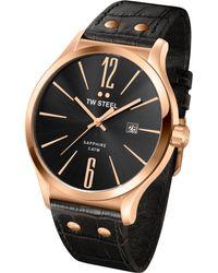 Tw Steel Unisex Slim Line Black Leather Strap Watch 45mm - Lyst