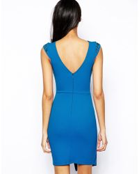 Lipsy Wrap Front Dress with Embellished Shoulder - Lyst