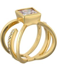 Guess Square Stone Look Of 3 Band Ring - Lyst