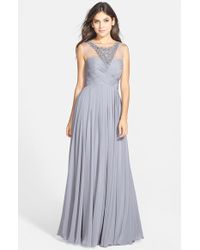 JS Collections Embellished Illusion-Yoke Chiffon Gown - Lyst