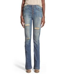 Hart Denim - 'nina' Button Fly Skinny Flare Jeans - Lyst