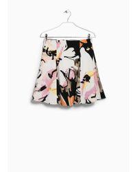 Mango Textured Printed Skirt - Lyst