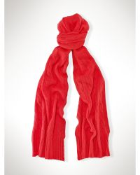 Polo Ralph Lauren Classic Cabled Cashmere Scarf - Lyst