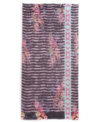 Cynthia Vincent Floral Splice Scarf - Purple