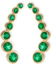 Rina Limor - 18k Yellow Gold & Emerald Climber Earrings - Lyst