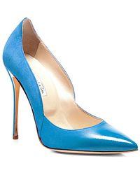 Oscar de la Renta Blue Sabrina Suede And Patent Pumps - Lyst
