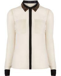 Karen Millen Beaded Collar Shirt - Lyst