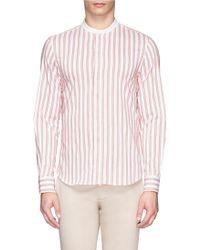 Armani Variegated Stripe Mandarin Collar Shirt - Lyst