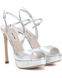 Miu Miu Metallic Leather Sandals - Lyst