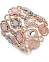 Inc International Concepts Rose Gold-Tone Large Stone Stretch Bracelet - Lyst