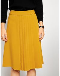 Asos Premium Pleated Front Skirt - Lyst