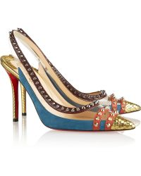 Christian Louboutin Cloo 100 Studded Snake Pvc and Leather Slingback Pumps - Lyst