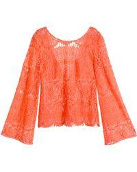 H&M Lace Top orange - Lyst