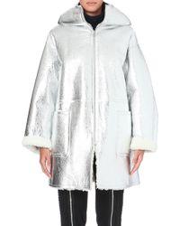 Jean Paul Gaultier Hooded Metallic Shearling Coat Silver - Lyst