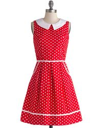 Folter Inc All Eyes On Unique Dress In Dotty - Red