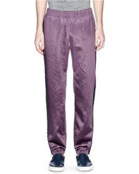 Paul Smith Zip Cuff Side Stripe Sateen Pants purple - Lyst