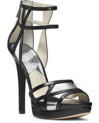 Michael Kors Jaida Leather Cutout Sandal - Lyst