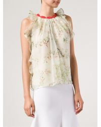 Giambattista Valli Floral Print Pleated Blouse - Lyst