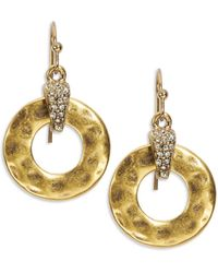 Lauren by Ralph Lauren Hammered Ring Drop Earrings - Lyst